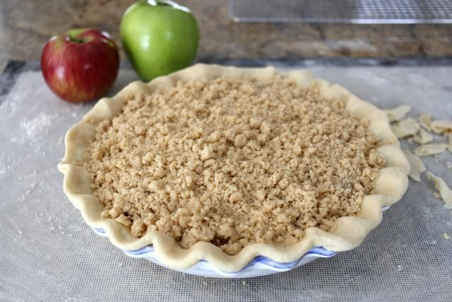 This apple crisp pie is made with a scrumptious crunchy brown sugar and oat streusel topping. It's a delicious pie you'll make again and again.