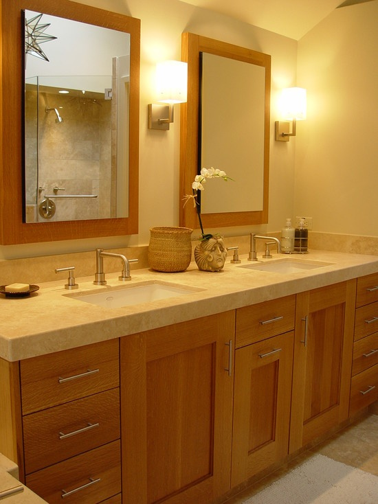 Light brown bathroom cabinets design pictures remodel for Bathroom cabinet color ideas