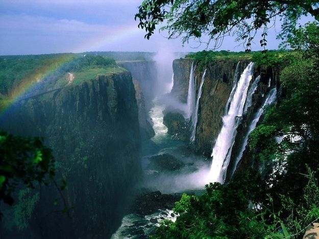 Victoria Falls, between Zambia and Zimbabwe, is (debatably) the largest waterfall in the world, with a width of 5604ft (1708m) and a height of 354ft (108m)