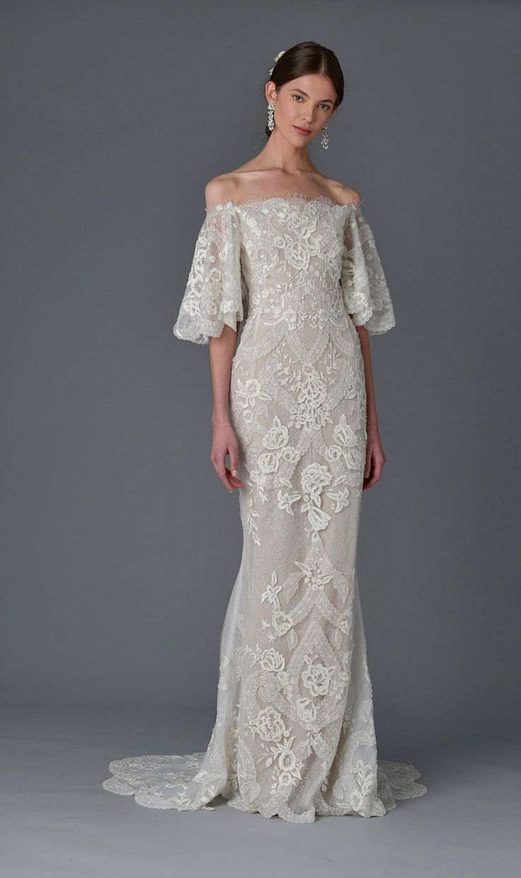 Off the shoulder sleeves with lace details throughout the gown | Marchesa Spring 2017 | https://www.theknot.com/content/marchesa-wedding-dresses-bridal-fashion-week-spring-2017