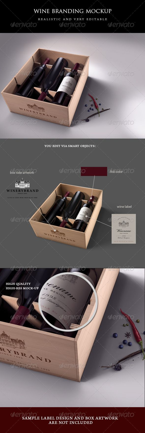Wine Case Mock-up  #GraphicRiver         Editable realistic mock-up showing wine label design and wine case branding. Some fruits typical for red wine race are placed