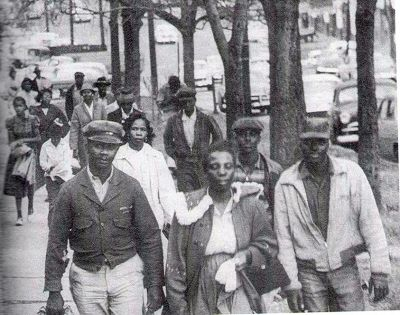 On Dec. 5, 1955 the Montgomery Bus Boycott began, one of the most powerful stories of organizing and social change in U.S. history. Yet many people still associate it with an isolated act by Rosa Parks. Out of Montgomery's 50,000 African American residents, 30,000-40,000 participated in the boycott. For 381 days, they walked, bicycled or car-pooled, depriving the bus company of a substantial portion of its revenue. ©Don Cravens/Time Life/Getty Images.