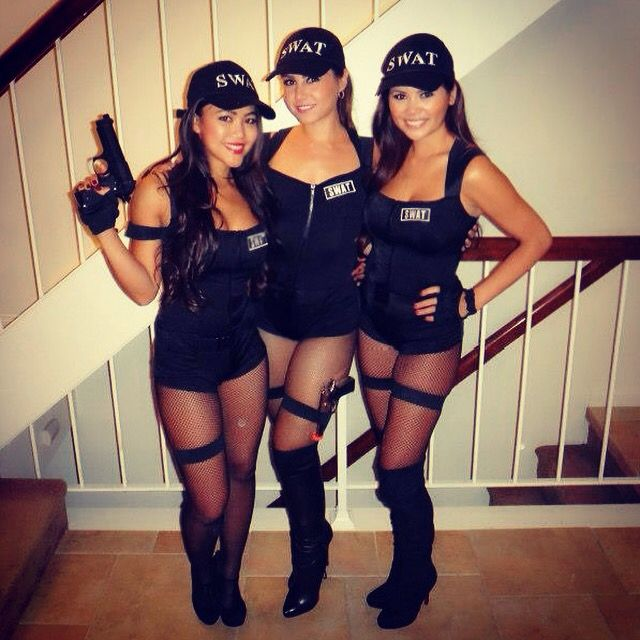 girls group and sexy adult women ideas for halloween costumes and theme parties swat cops hot - 3 Girl Costumes Halloween
