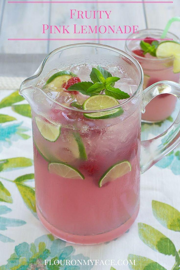 Easy Fruity Pink Lemonade recipe is perfect for all backyard bbq beverages via flouronmyface.com