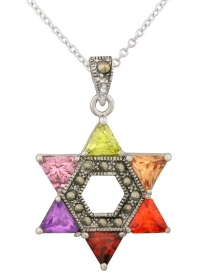 "JanKuo Jewelry Silver Tone Multi-Color Cubic Zirconia CZ Jewish Star of David Pendant and 16"" Chain with Gift Box"