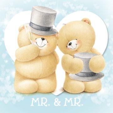 Schattige trouwkaart bij felicitatie van een huwelijk.