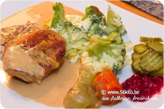 Möra kotletter med broccoligratäng