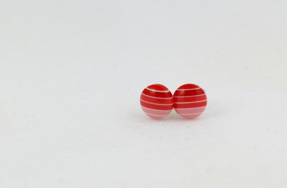 Red Striped Earrings - Circle Stud Earrings - 8mm Stud Earrings - Red Pink Gradient - Ruby Earrings - Red Ombre Earrings - Gift for Her by BestFiveCentCoffee