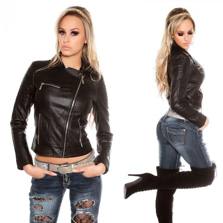Fekete bőrhatású kabát