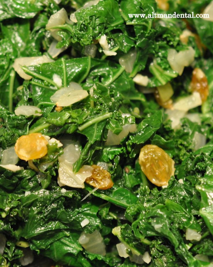 Kickin' Kale: sauteed kale with yellow raisins. Packed with Vitamins A ...