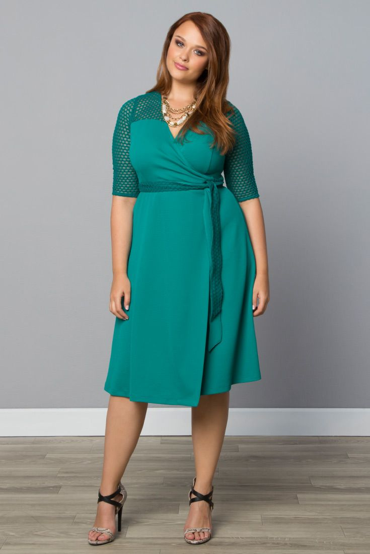 Sweet and classic is what our plus size Honeycomb Wrap Dress is all about; and now available in a gorgeous teal.  Explore our entire collection online at www.kiyonna.com.  #KiyonnaPlusYou