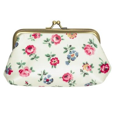 Perfect for carrying your cards and change, this vintage style Linen Sprig clasp purse has a pretty silver clasp and a printed cotton lining.