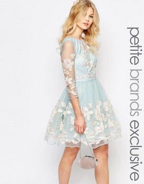 Chi-Chi London Petite Premium Allover Floral Embroidered Mini Prom Dress With Mesh Sleeve