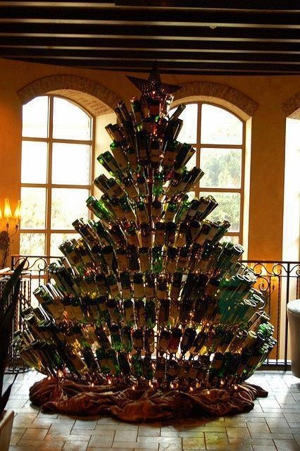 """Wine Bottle xmas tree. I am so doing this. So let's think of some new lyrics to """"Oh Christmas Tree"""", shall we? I'll start, you add yours, let's write a song! Go:    Oh Merlot tree Oh Pinot tree  How I love to make thee..."""