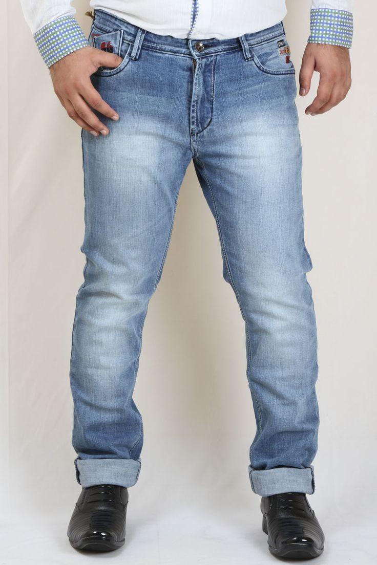 Buy Blue Light Wash Stretch Denim Jeans For Men Online in India