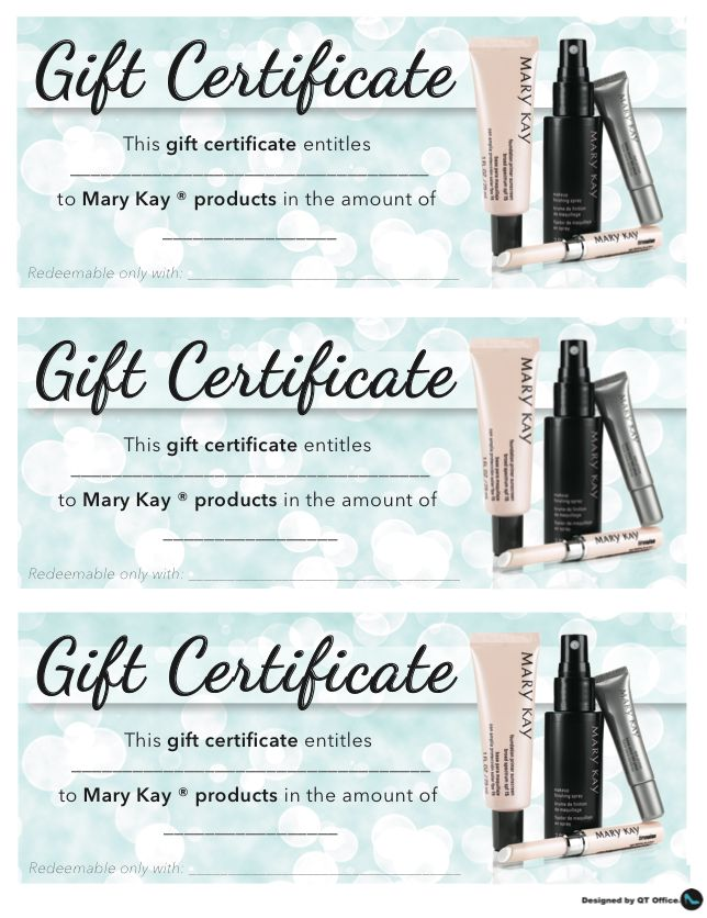Anne Hanson Mary Kay Sales Diretor-United States Gift Certificates