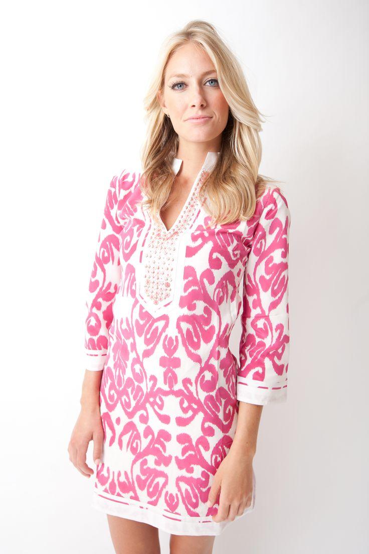 Gabby Dress in Fluoro Pink Ikat