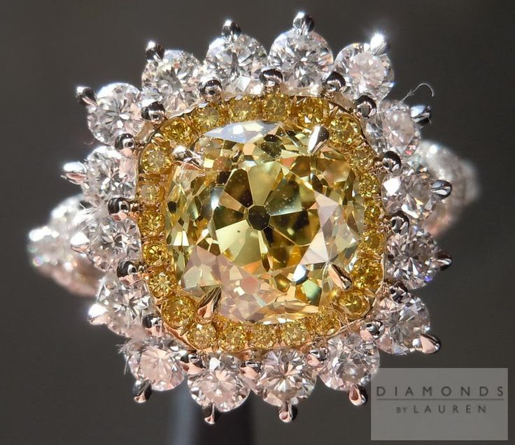 Halo Diamond RIng| Vivid Yellow Diamond | Old Mine Cut Diamond