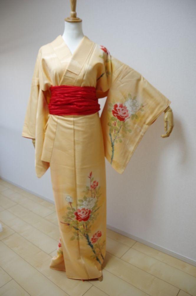 Kimono Dress Japan Geisha costume used Vintage Tsukesage awase  KDJM-A0039