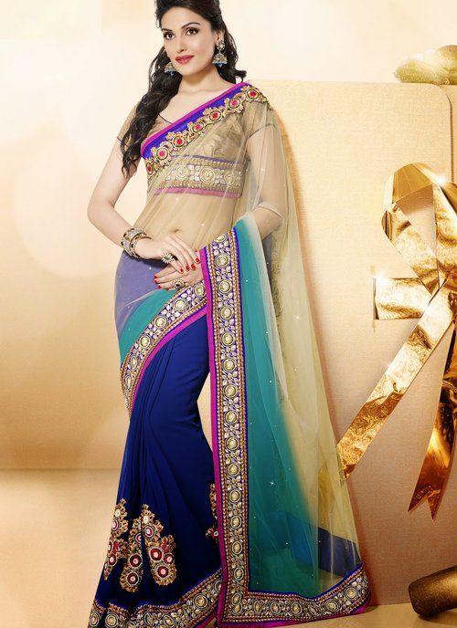 Plushy Deep Blue, Beige & Cyan Blue Embroidered half and half saree