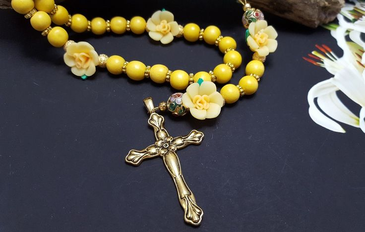 He Is Risen! Easter Gift For Godmother ~ Yellow Daffodil Spring Rosary ~ Personalized Catholic Rosary ~ Girls Confirmation, Baptism Gift by BlueWorldTreasures on Etsy