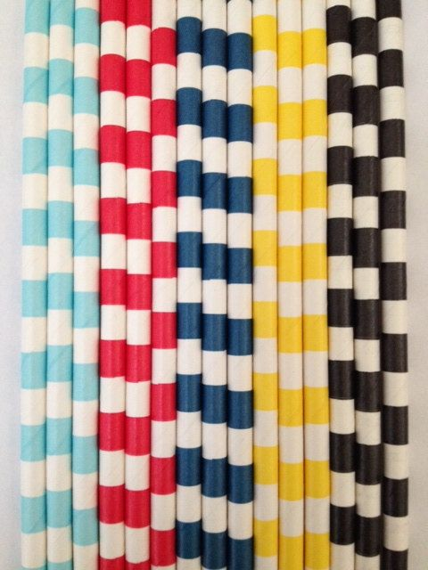 Rugby Paper Straws Your Color Choice 25 or 50 by DKDeleKtables