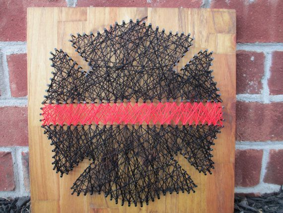 String Art Thin Red Line, Firefighter, Wall Decor, Wall Hanging