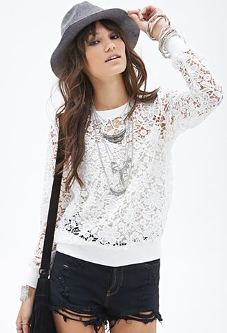 Sheer Floral Crochet Top | FOREVER21 - 2000120445