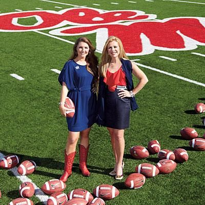 Leigh Anne Tuohy and daughter Collins cheer for the Rebels with style | #SouthernStyle #GameDayStyle #OleMiss | SouthernLiving