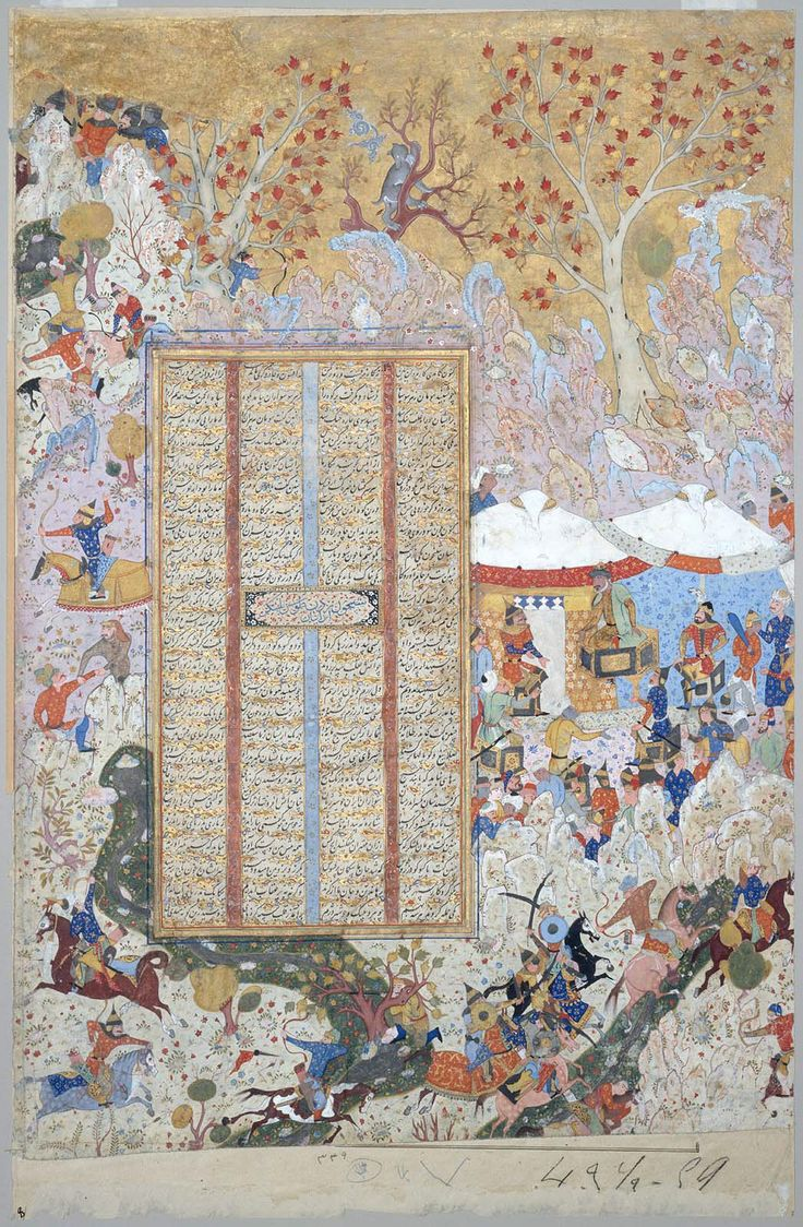 Firdawsi's Shahnama: Gudarz advises Tus to lead the Iranian troops in a surprise night raid. Persian and Turkish. Safavid and Ottoman Period. A.D. 1562–83 (A.H. 970–91) Calligrapher Muhammad al-Qivam of Shiraz