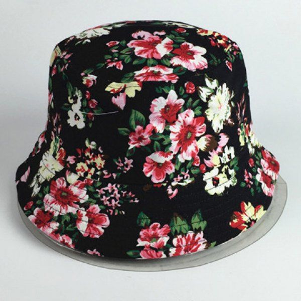 Chic Bright Color Blooming Flowers Pattern Women's Black Bucket Hat #CLICK! #clothing, #shoes, #jewelry, #women, #men