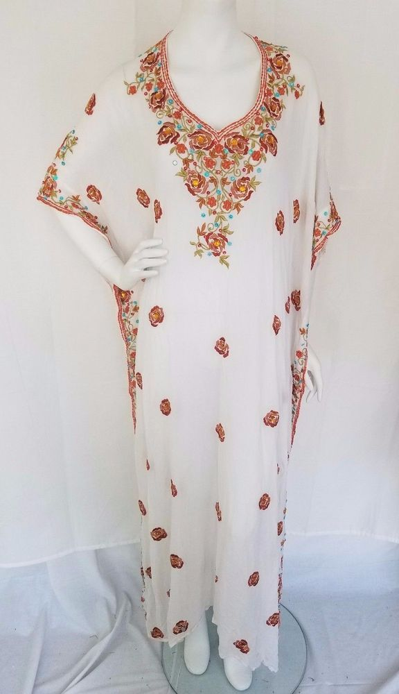 Vtg Boho White Chiffon Embroidered Caftan Dress Hippie Anthropologie Stylish LG #Unbranded #Caftan