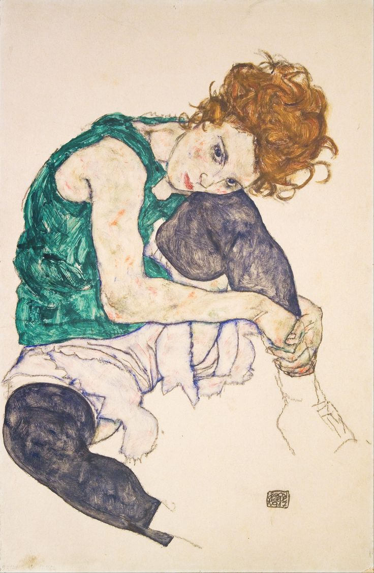Egon Schiele's wife and muse, Edith Harms. Schiele is one of those artists whose paintings are as beautiful as they are grotesque.