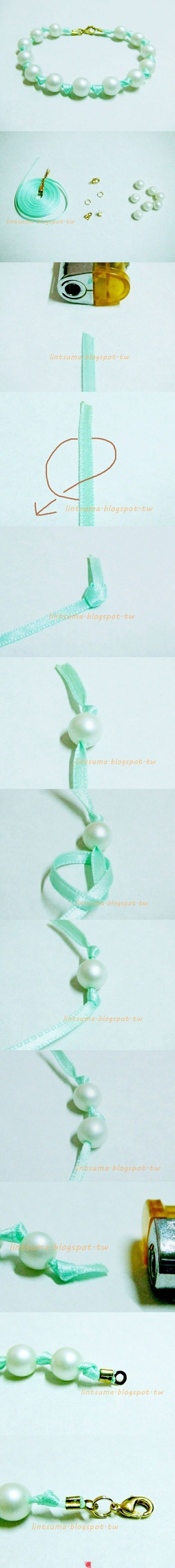 Use as a package ribbon?  DIY jewelry | Beautiful handmade bracelets and necklaces using ribbons and beads.