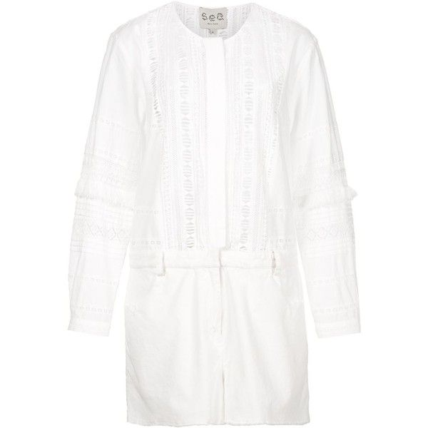 Sea Lace Buttoned Playsuit (8.592.045 VND) ❤ liked on Polyvore featuring jumpsuits, rompers, white, white rompers, sea, new york, playsuit romper and white romper