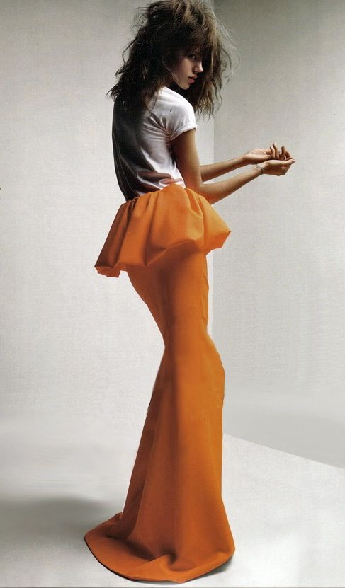 orange peplum long skirt