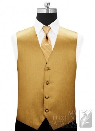 Metallic Gold 'Vertical' Tuxedo Vest - MyTuxedoCatalog.com