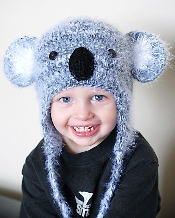 Koala Earflap Hat Crochet Pattern Permission to by adrienneengar, $4.99