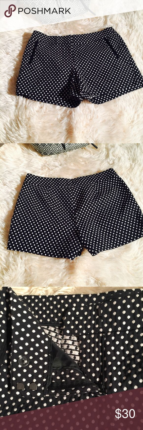Polka Dots Shorts Cynthia Rowley dressy shorts size 6 GUC two front pockets zip and hook closure has 2 darts in the front 2 in the back to give it a nice fitting specially to camouflage the tummy bulge lol very classy dress up or dress down looks great with almost anything very versatile.Shop and feel good about it 😁. Part of the money u spend goes to Purple Heart Foundation 💜 Cynthia Rowley Shorts