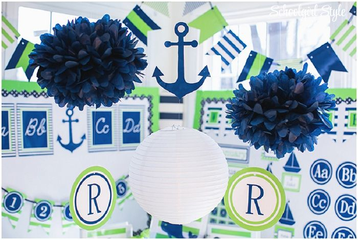 Preppy Nautical Classroom Theme  whales, anchors, sailboat, stripes, monograms, lime green, navy ~Classroom decor by Schoolgirl Style www.schoolgirlstyle.com