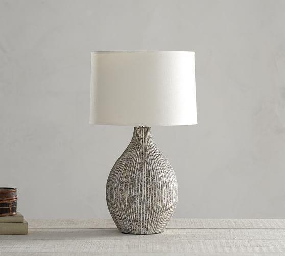 "Lima Ceramic Lamp Base , Hand-Painted Artisanal Ceramic | $159 | Overall: 9.5""Dia., 23.5""H Base: 9.5""Dia., 13.5""H Harp: 8"" high"