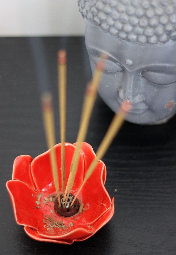 2 Incense Stick Holders Red Ceramic Flower Incense by TzadSheni