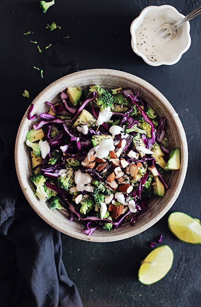 Detox Rainbow Salad (The Best Salad You Will Ever Have)     1 small broccoli head, cut in small florets     ¼ small red cabbage head, finely diced     1 small red onion, finely diced     1 avocado, peeled and cut in cubes     To garnish: toasted almonds and chia seeds      For the sauce     2 tbsp low fat yogurt     1 tsp extra virgin olive oil     ½ lemon, juice only     ½ tsp sea salt     Freshly ground black pepper