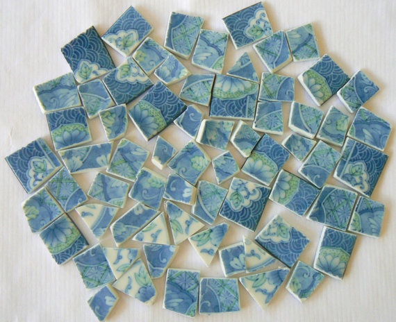 Blue White and Green Asian Mosaic Tiles Set of 65 by PamelasPieces, $12.99