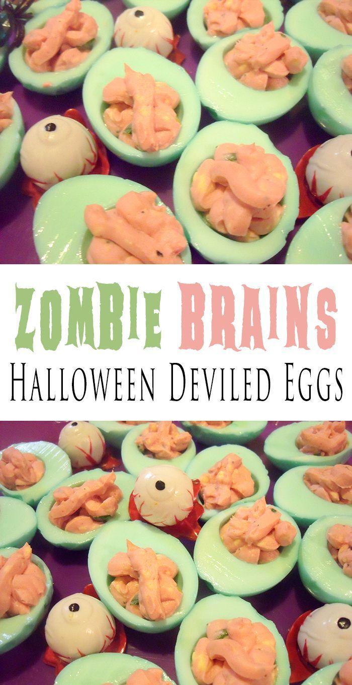 Zombie Brains | Halloween Deviled Eggs Recipe