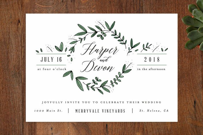 """""""Floral Wreath"""" - Customizable Wedding Invitations in Green by Kelly Schmidt"""