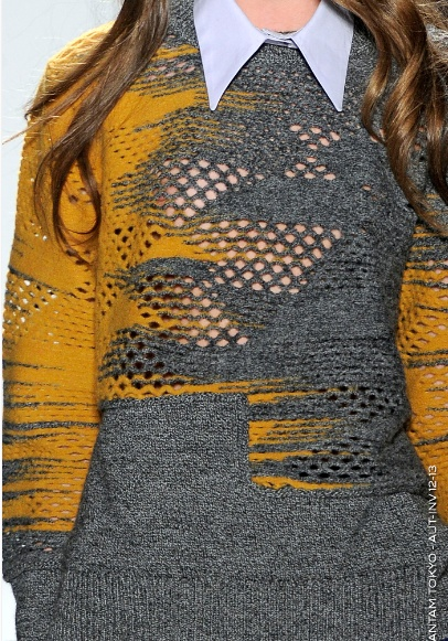 Interesting way to use colours in knits, also interesting lace.