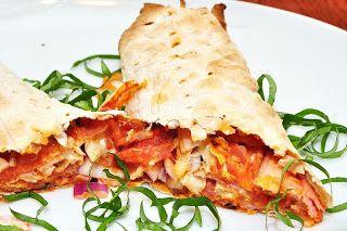 Recette de wrap pizza tomates - jambon - mozzarella - champignons (Italie, France, USA...)