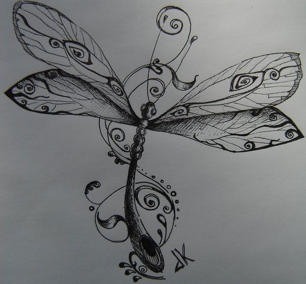 Dragonfly @cathy johnson. This would make for a beautiful tat! The initials at the bottom could be GJ instead of JK. :)