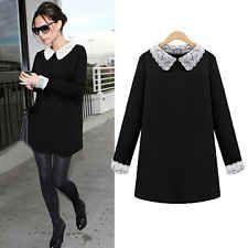 Women Black Block White Lace Collar Cuff Peter Pan Collar Dress Plus Size 14-22[Black,UK 14]